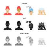 Händer, hygien, cosmetology och annan rengöringsduksymbol i tecknade filmen, svart, monokrom stil Bada kläder, hjälpmedelsymboler vektor illustrationer