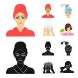 Händer, hygien, cosmetology och annan rengöringsduksymbol i tecknade filmen, svart stil Bada kläder, hjälpmedelsymboler i uppsätt vektor illustrationer