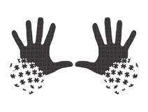 Händer i pusselstycken Royaltyfri Illustrationer
