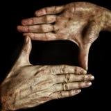 Händer isolerad svart Royaltyfri Foto