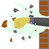Händer med dräkten förstör väggen Royaltyfri Foto