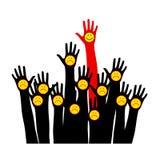 Händer med emoticons lyftta händer Arkivbilder