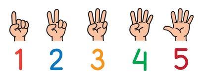 Händer med fingrar Symbolsuppsättning för att räkna utbildning royaltyfri illustrationer
