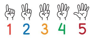 Händer med fingrar Symbolsuppsättning för att räkna utbildning vektor illustrationer