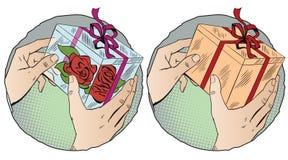 Händer med gåva för illustrationorange för bakgrund ljust materiel Royaltyfri Bild