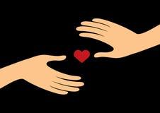 Händer med hjärtavektorn Royaltyfri Foto