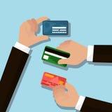 Händer med kreditkortar royaltyfri illustrationer