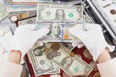 Händer med olika amerikanska dollar Arkivbild