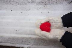 Händer med röd hjärta på snön royaltyfri foto