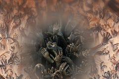 Händer når upp från undervärlden Royaltyfri Fotografi