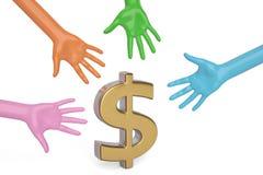 Händer och dollar symbol på vit bakgrund illustration 3d royaltyfri illustrationer