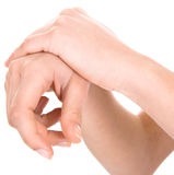 Händer på en vit bakgrund Arkivfoton