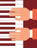 Händer på lägenhet för pianotangentbord planlägger vektorillustrationen Klassiskt musikbegrepp Royaltyfri Fotografi