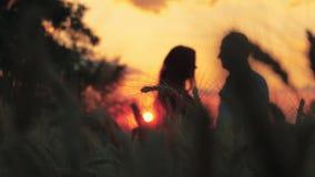 Händer på solnedgången nära dammet stock video