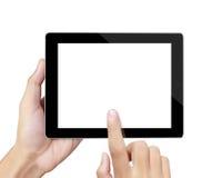 Händer pekar på touchskärmen, touch-tabell Royaltyfri Foto
