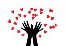 Händer producera många hjärtor händer silhouette två Händer kastar många hjärtor Royaltyfria Foton