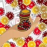 HÄNDER RYMMER chiper den röda och gula kasinot för det höga tornet för chiper vektor illustrationer