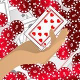 HÄNDER RYMMER tecken det röd och ett kasinokortet stock illustrationer