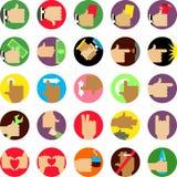 Händer sänker symbolsuppsättningen Arkivbilder