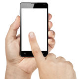 Händer som arbetar handlagSmartphone den tomma skärmen Isolat Royaltyfri Fotografi