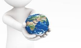 händer som 3d ger jorden till dig Det föreställer tar omsorg jorden eller miljön Royaltyfria Bilder