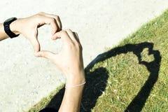 Händer som gör hjärtasymbolskugga Royaltyfri Fotografi