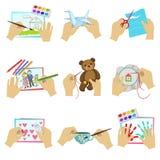 Händer som gör olika hantverk Arkivfoto