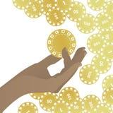 HÄNDER som HÅLLER guld- kasinochiper vektor illustrationer