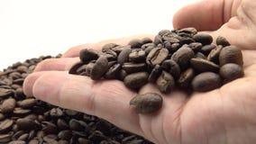 händer som 4K rymmer kaffe för en tid sedan grillat Ingrediens för kaffe stock video