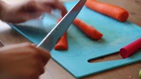 Händer som klipper morötter i stycken stock video