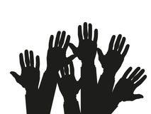 Händer som lyfts upp - symbol av frihet valet, gyckel också vektor för coreldrawillustration stock illustrationer