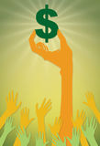 Händer som når för ett dollartecken Arkivfoto