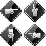 Händer som pekar tecken Arkivbilder