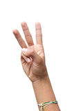 Händer som räknar den snabba banan för nummer tre Royaltyfri Foto