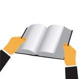 Händer som rymmer boken isolerad över vit bakgrund, vektorillustration i den plana designen för webbplatser, Infographic Arkivfoto