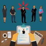 Händer som rymmer CV-profil för att välja från gruppen av affärsfolk att hyra, att intervjua, timme, vektorillustration Royaltyfria Bilder