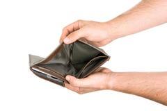 Händer som rymmer den öppna manliga plånboken Arkivbild