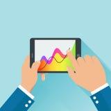 Händer som rymmer den digitala minnestavlan och affär, diagram begrepp stock illustrationer