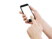 händer som rymmer den male smartphonen Arkivbilder