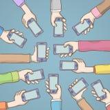 Händer som rymmer den smarta telefonvektorillustrationen royaltyfri illustrationer