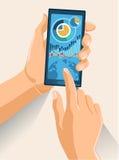 Händer som rymmer den Smartphone vektorillustrationen Royaltyfri Foto