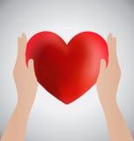 Händer som rymmer hjärta, förälskelsebegrepp Royaltyfri Fotografi