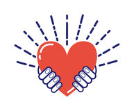 Händer som rymmer hjärtaillustrationen Stock Illustrationer
