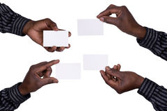 Händer som rymmer kort Arkivbild