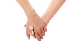 händer som rymmer kvinna två Royaltyfri Fotografi