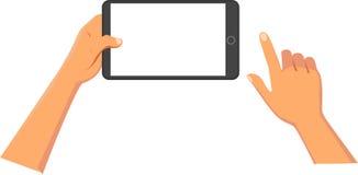 händer som rymmer tableten Fotografering för Bildbyråer