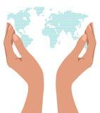 händer som rymmer världen Royaltyfri Foto