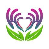 Händer som rymmer vektorn eps10 för begrepp för hjärtaeco den vård- Arkivbilder