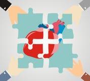Händer som sätter hjärtapusslet, lappar tillsammans Kardiologi och läkare stock illustrationer