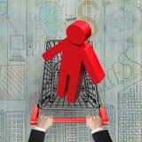 Händer som skjuter shoppingvagnen med den röda mannen 3D stock illustrationer